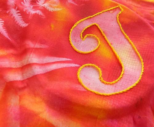 tast stem stitch - sunprinted initial