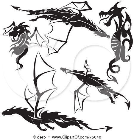 75040-Royalty-Free-RF-Clipart-Illustration-Of-A-Digital-Collage-Of-Black-And-White-Dragon-Tattoo-Design-Elements-Version-1