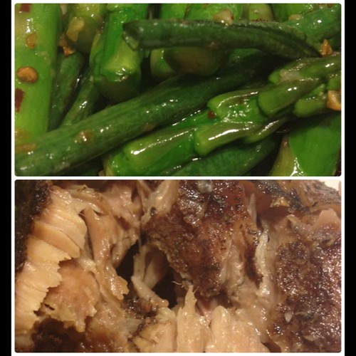 My dinner plate: spicy garlic long beans and asparagus inspired by @ayo808 and crock pot Chinese five spice pork. #paleo goodness!!!