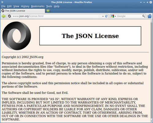 圖1: JSON.org 官方網站上的「The JSON License」聲明 (http://www.json.org/license.html)