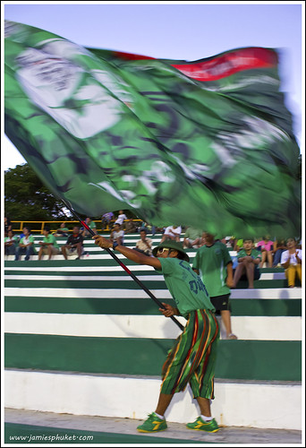 Phuket FC supporter with giant flag