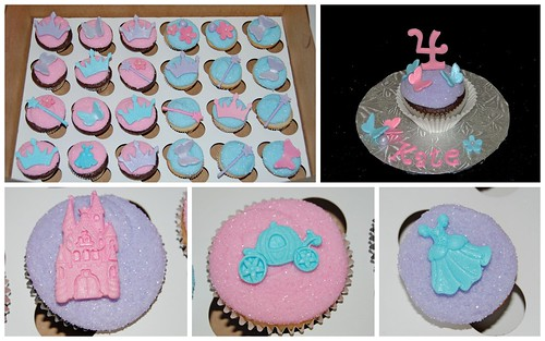 Pink purple and blue Princess cupcake collage
