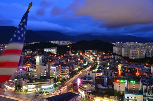 city blue sky mountains night clouds america lights nikon long exposure time flag south korea daegu isthe righttime d7000 howinappropriate atthatmomenthowmanypeopledoyouthinkwere