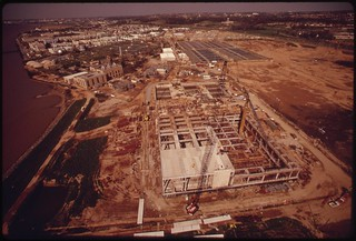 Wide Angle View Of Blue Plains Sewage Treatment Plant Showing Existing Facilities And Extensive New Construction, April 1973