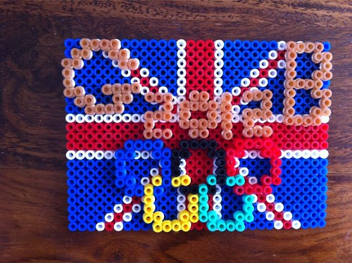 Union Jack Flag for Supporting Great Britain made in Hama Beads.