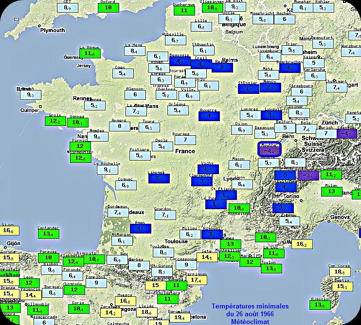 températures minimales du 26 août 1966, fraîcheur et record de froid à Mouthe météopassion