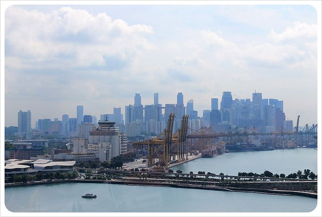 singapore harbour and skyline from cable car