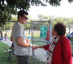 Greeting a young voter on the way to the Pearl River fireworks.
