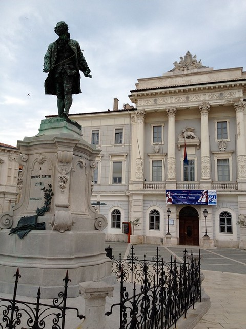 The statue of Tartini in the plaza in Piran