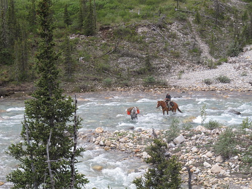 Muskwa-Kechika, John Keller fording river on Hazel