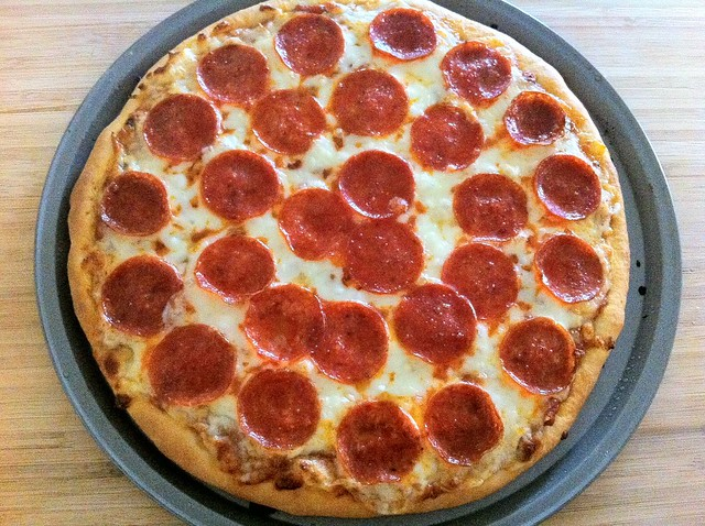 Pepperoni Pizza Before Toasting Under Broiler