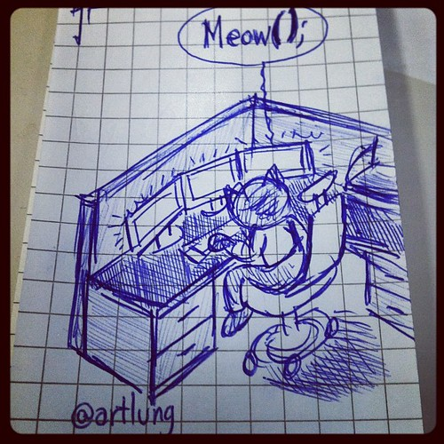 Cat Cube Programmer. A meeting doodle™ by @artlung