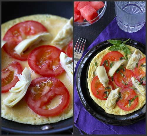 Summertime Frittata Recipe with Artichoke, Tomato & Basil Pesto