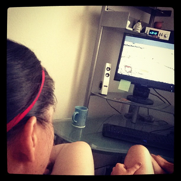 Sweaty. Post WOD. Dorkily watching the #crossfit games live stream on our computer. WISH WE WERE THERE!
