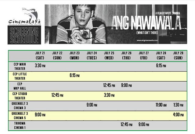 Ang Nawawala Cinemalaya 2012 Screening Schedule