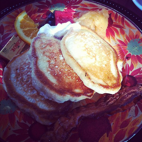 My breakfast at the b&b seriously some of the best pancakes ever