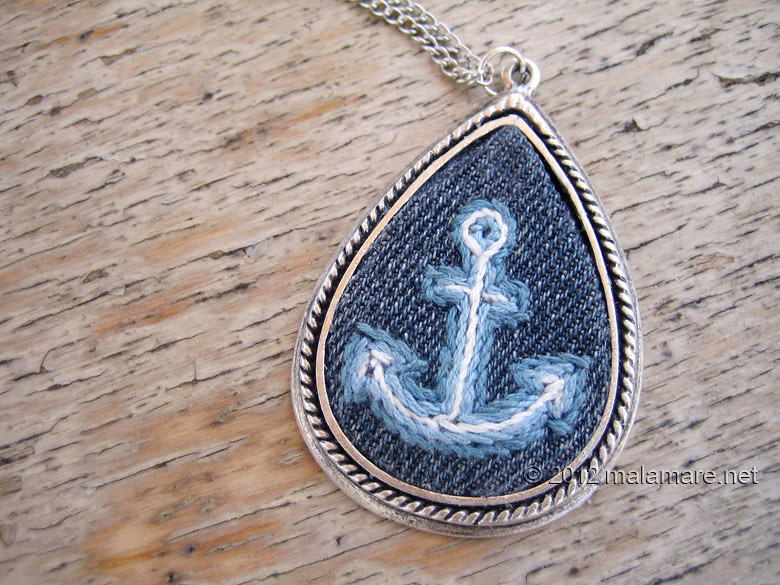 hand embroidered jeans necklaces anchor