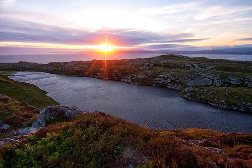 ireland sunset lake