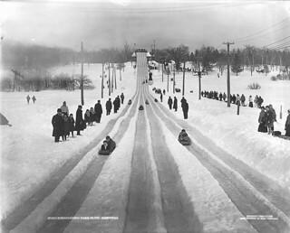 Tobogganing, park slide, Montreal, QC, 1904