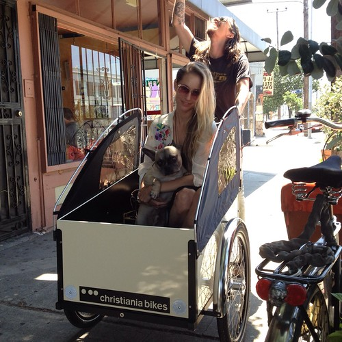 Taking their new boxcycles Christiania out for the first time at Flying Pigeon LA bike shop