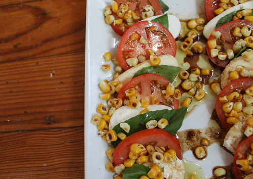 Toasted corn caprese salad