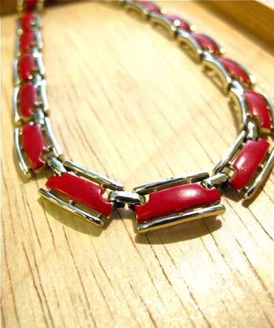 Silver tone and red enamel choker