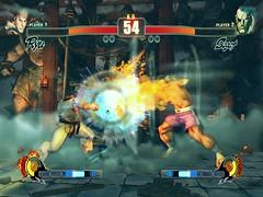 SF4 Ryu's LP Hadoken vs Sagat's LP High Tiger Shot