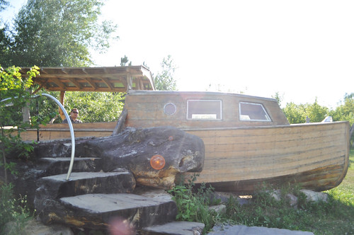 Old Wooden Boat with Sunflare