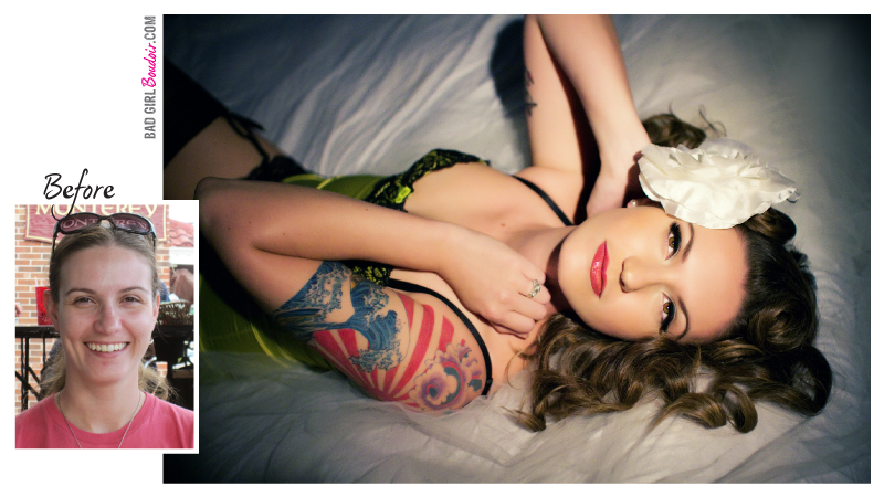 Classic Old Hollywood Pinup // Tattooed Pin-up Girl Before and After Photo