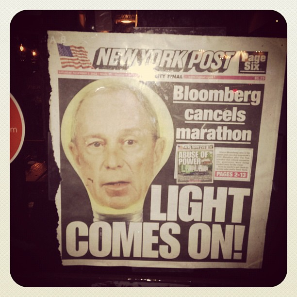 "NY Post ""light comes on"" cover displayed at Numero 28 restaurant in #eastvillage #nyc"
