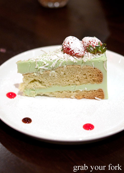 pandan and coconut custard cake at eggless dessert cafe, goodwood, adelaide