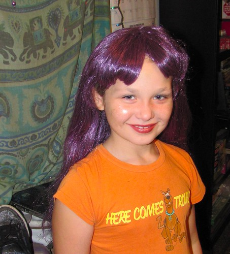 Sadie in purple wig; with glitter