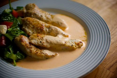 Kycklingfilé med paprikasås