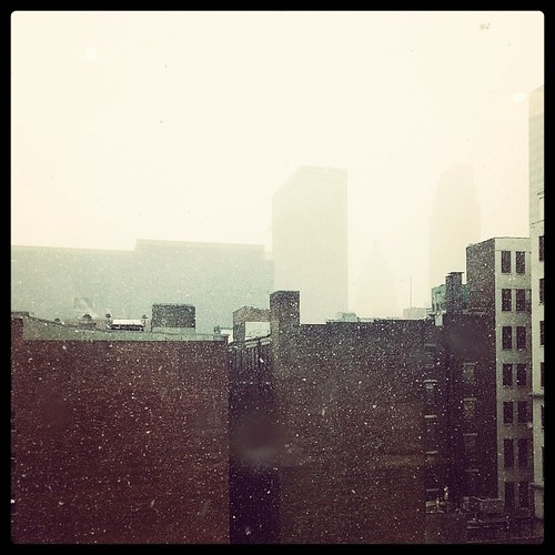 Snowing in downtown Cincinnati...