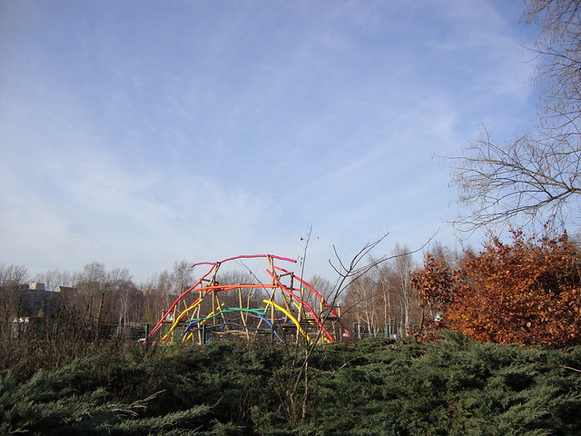 Mauerpark Berlin_rainbow wood play structure jungle gym