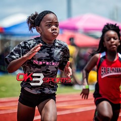 Natalie Kelleh running the 200m dash at the AAU Track meet held at Wagner High School #ok3sports #trackandfield #tracknation #nikon_photography