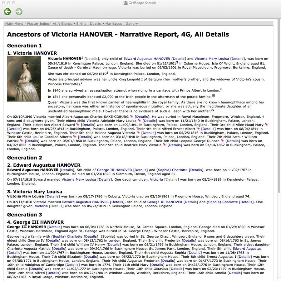 GedScape - Report - Individuals - Narrative - All Details