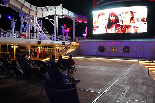Pirates of the Caribbean movie on pool deck