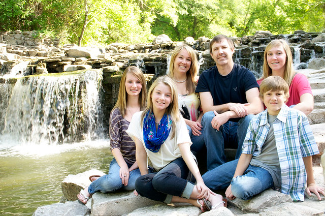 family photo at the waterfall