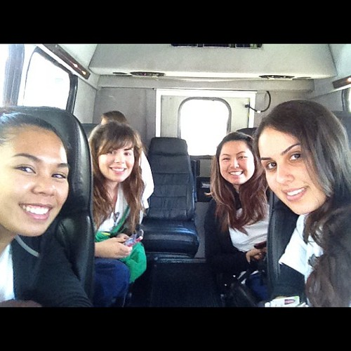 Last shuttle ride together!! Lol. Last day of maternity clinicals