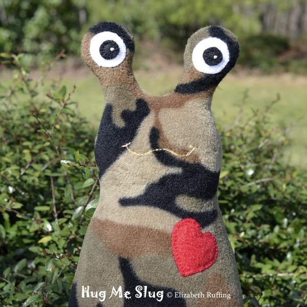Camouflage Fleece Hug Me Slug, original art toys by Elizabeth Ruffing