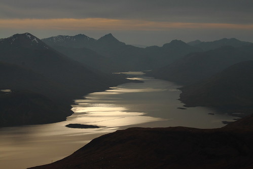 The light fades along Loch Quoich.