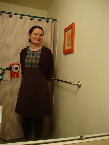 argyle concept dress done, with purchased cardigan