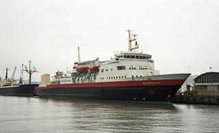 Hurtigrutebåten Midnatsol ved Pir II (1983)