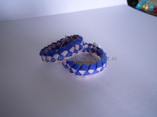 Handmade Jewelry – Paper Strips Knot Hoops (Blue-Pink) 2 by fah2305