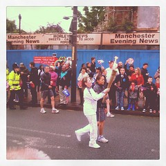 Olympic torch in Levenshulme