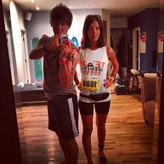 Me (#3769) & @chelsa (#1684) running NYC Triathlon today (1mi swim, 25mi bike, 6mi run) . Track us online& wish us luck!