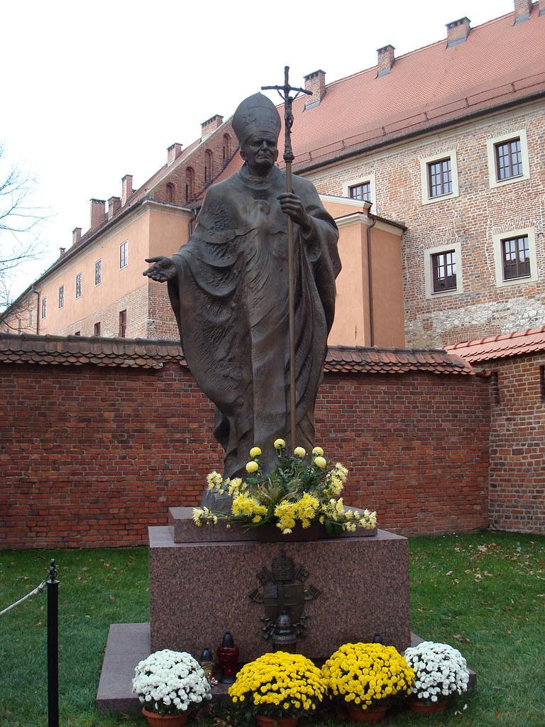 Pope John Paul II statue at Wawel Castle, Krakow