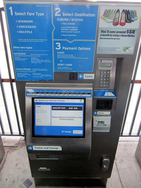 Perth paper ticket vending machine - looks to be the same basic hardware as Melbourne's Myki vending machines