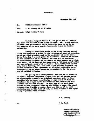 Commendation for Sergeant Lowe September 19 1945